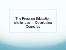 The most pressing education challenges today in developing
