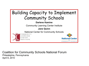 Building Capacity to Implement Community Schools