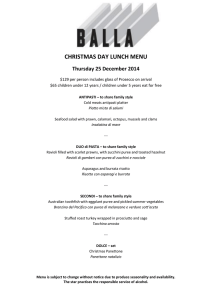 CHRISTMAS DAY LUNCH MENU