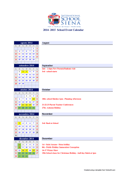 Calendar - International school of Siena