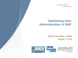 Optimizing User Administration in SAP -ISACA ATL Chapter (8