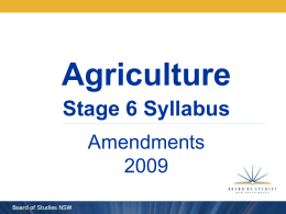 Agriculture Stage 6 Syllabus Amendments