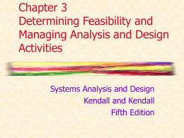 Chapter 3 Determining Feasibility and Managing Analysis and