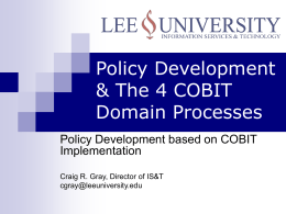 IT Governance and The 4 Cobit Domain Processes