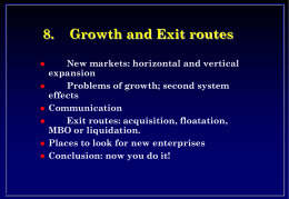 8. Growth and Exit routes New markets