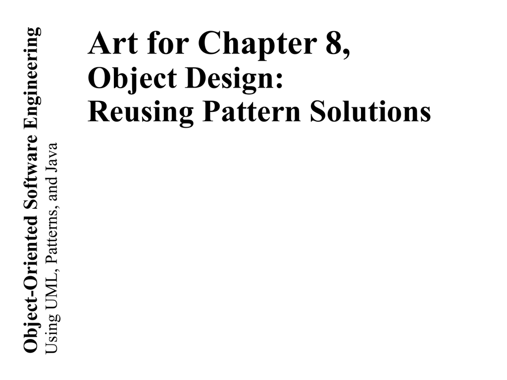 Object Oriented Software Engineering Art For Chapter 8 Object Design
