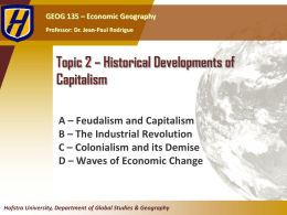 Topic 2 - Historical Developments of Capitalism