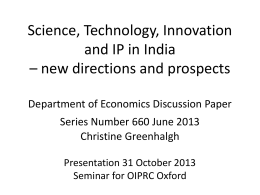 Innovation and IP in India * what