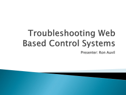 Troubleshooting Web Based Controls
