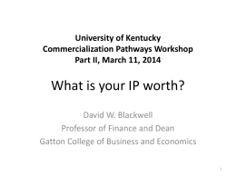 David Blackwell - What is your IP worth
