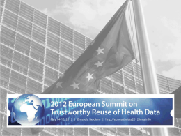 "Trustworthy Reuse of Health Data ""Perspective from the EU"""