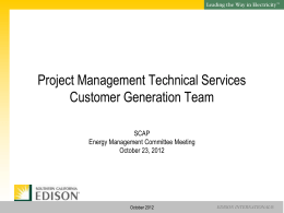 SCE Customer Generation Presentation