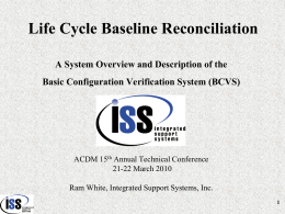 Life Cycle Baseline Reconciliation