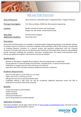 MS and PhD Positions Area of Research