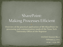 Utilizing MS SharePoint for Efficiency and Communications