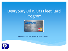 Dearybury Fleet Card Program