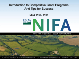 Overview of the Agriculture and Food Research Initiative
