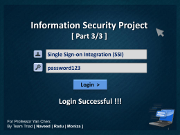 MSIT 458 * Information Security Project Part 1 * Team Triad