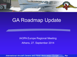 Progress on EASA GA Roadmap
