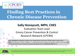 Best Practices in Chronic Disease Prevention, Sally