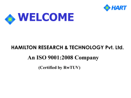 HAMILTON RESEARCH & TECHNOLOGY Pvt. Ltd. WELCOME An