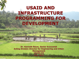 USAID and Infrastructure Programming for Development