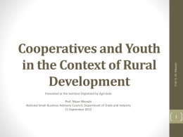 Co-operatives and Youth in the Context of Rural