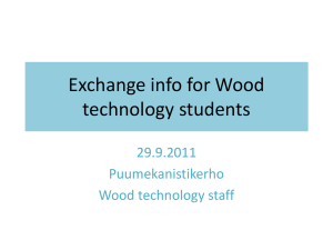 Exchange info for Wood technology students