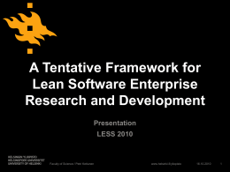 A Tentative Framework for Lean Software Enterprise