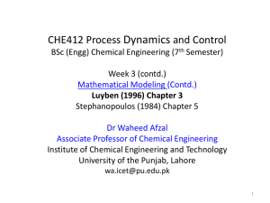CHE412 Process Dynamics and Control BSc (Engg)