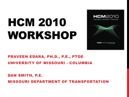 HCM OUTLINE - Missouri Department of Transportation