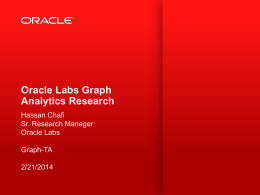 Graph Analytics Research at Oracle Labs - DAMA-UPC