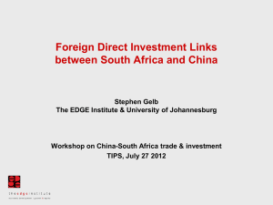 Foreign Direct Investment Links between South Africa and