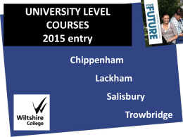 Wiltshire College Higher Education Presentation