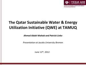 The Qatar Sustainable Water & Energy Utilization Initiative (QWE)
