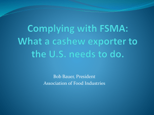 FSMA - What cashew business need to do?