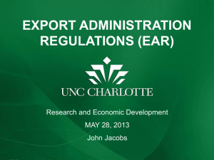 Export Administration Regulations (EAR) process