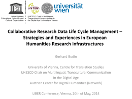 Collaborative Research Data Life Cycle Management * Strategies