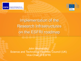Implementation of ESFRI projects