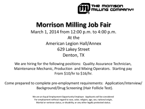 Morrison Milling Job Fair March 1, 2014 from 12:00 pm to 4:00 pm At
