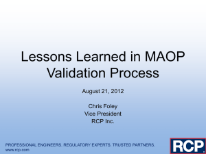 Lessons Learned in MAOP Validation Process