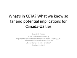 What`s in CETA? What we know so far and potential