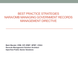 Past Practices Managing Government Records Directive