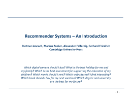 Chapter 01 - Recommender Systems – Introduction and Handbook