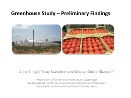 Greenhouse Study – Findings