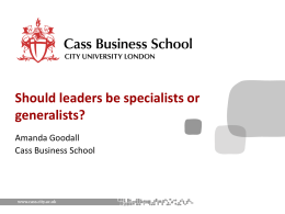Should leaders be specialists or generalists?