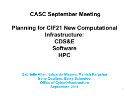 Planning for CIF21 New Computational Infrastructure
