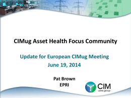 CIMug Asset Health Focus Community Update