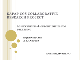 KAPAP CGS COLLABORATIVE RESEARCH PROJECTS PI MEETING