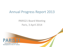 PARIS21 Progress Report 2013